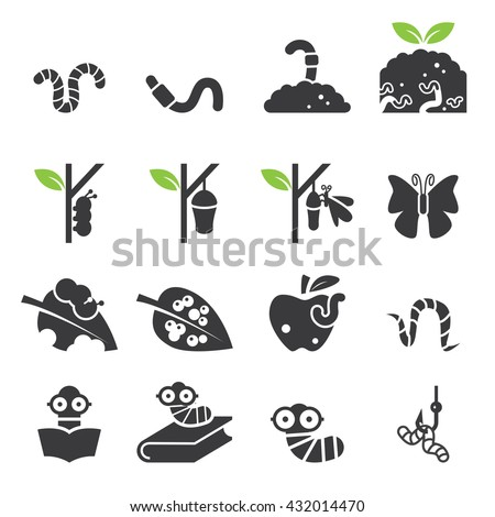 Worm icon set.