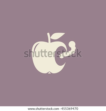 worm in apple  vector icon