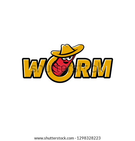 Worm in the hat gets out of the hole. Worm logo template for live food or fish bait. Foto d'archivio ©