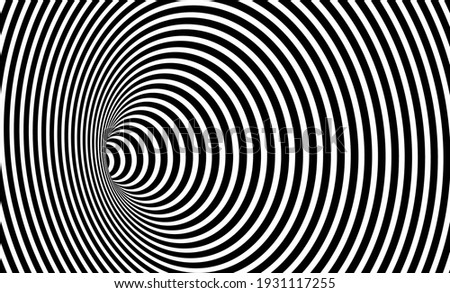Wormhole Optical Illusion, Geometric Black and White Abstract Hypnotic Worm Hole Tunnel, Abstract Twisted Vector Illusion 3D Optical Art background  Сток-фото ©