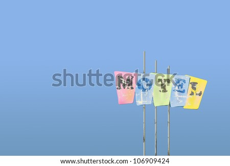 worn motel sign, blue sky, vector illustration, free copy space