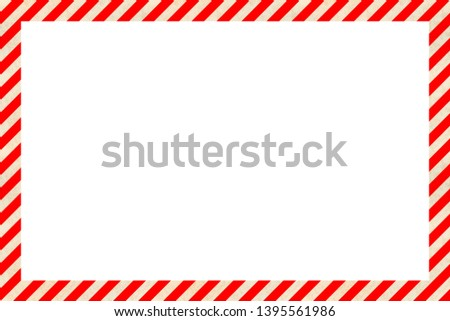 Worn warning sign red and white stripes frame, industrial background #1395561986