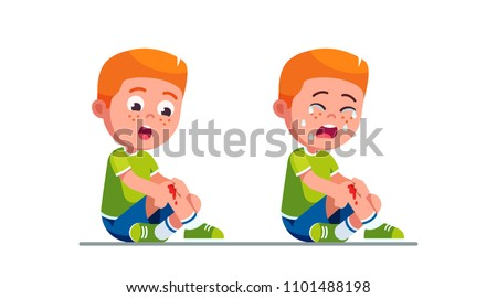 Worried and crying preschool boy kids holding painful wounded leg knee scratch with blood drips. Bleeding knee injury pain. Child cartoon characters childhood kids injury. Flat vector illustration