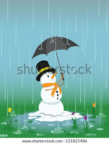 Worried snowman trying to keep dry under an umbrella as spring flowers start to grow around him.