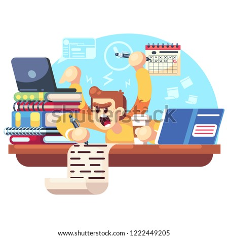 Worried, upset teen student on exam. Education and study concept Student experiences exam stress, excitement, worrying, fear. Vector flat cartoon character illustration.
