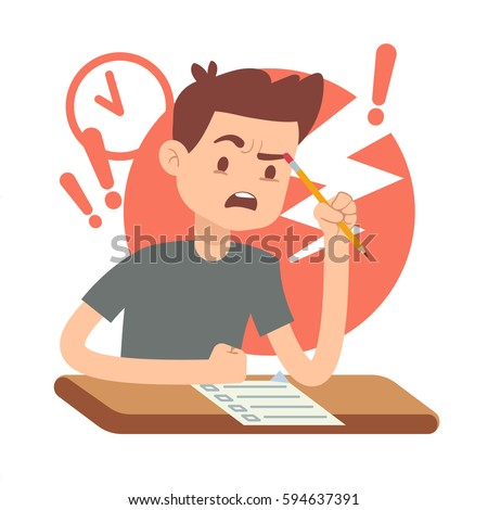 Worried, upset teen student on exam. Education and study vector concept