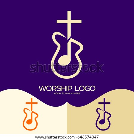 Worship logo. Cristian symbols. Cross of Jesus, musical note and guitar