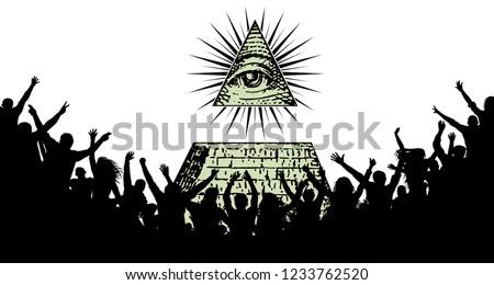 Worship the all-seeing eye, the Illuminati, Freemasonry. New world order. Crowd of people silhouette vector