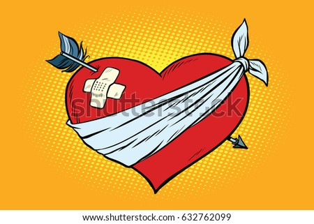 wounded love red heart with