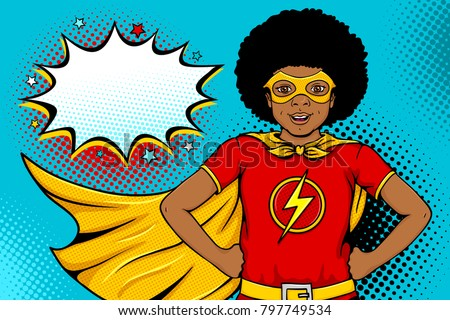 Wow afro face. Cute surprised little boy in mask dressed like superhero with open mouth shows his power and speech bubble. Vector illustration in retro pop art comic style. Party invitation poster.