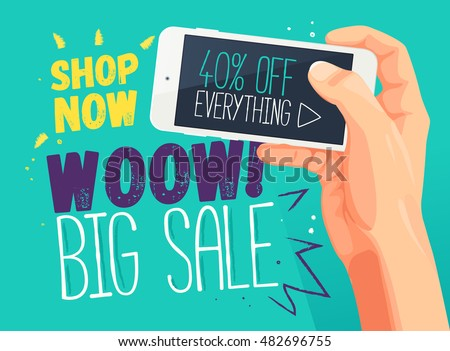 Wow Big sale banner template. Sale and discounts. Discount banner for mobile app. Vector web poster