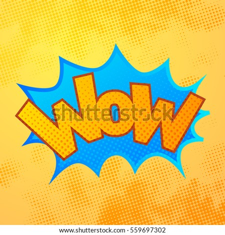 WOW comics sound effect with halftone pattern on yellow background