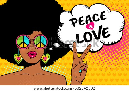 Wow female face. Sexy african american hippie woman in glasses with pacific sign shows victory sign and peace and love speech bubble. Vector colorful background in pop art retro comic style.