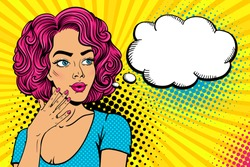 Wow female face. Sexy surprised young woman with open mouth and pink curly hair, bright nails and empty speech bubble. Vector colorful background in pop art retro comic style. Party invitation poster.