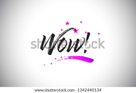 Wow!  Handwritten Word Font with Vibrant Violet Purple Stars and Confetti Illustration. Foto stock ©