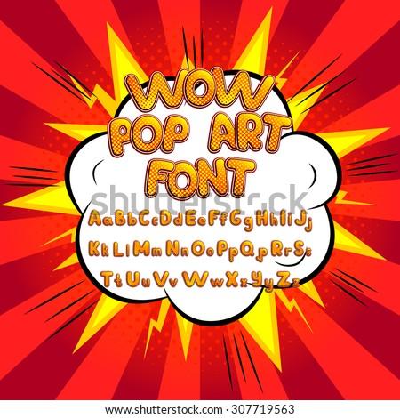 wow pop art comic font vector
