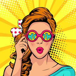 Wow pop art face of surprised woman open mouth holding sunglasses in her hand with inscription wow in reflection. Vector illustration in retro comic style.