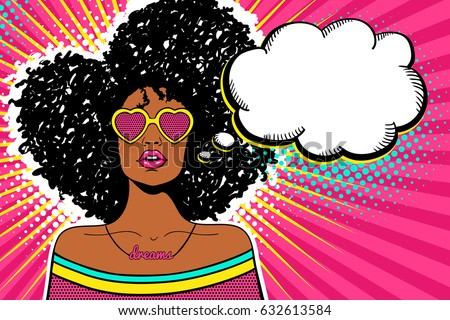 Wow pop art face. Sexy woman with black afro curly hair and open mouth and sunglasses in form of heart and empty speech bubble. Vector bright background in pop art retro comic style. Party invitation.