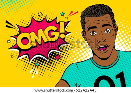 Wow pop art male face. Young sexy surprised african american black man with open mouth and OMG speech bubble with stars. Vector colorful illustration in retro comic style. Party invitation poster.