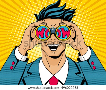 Wow pop art man. Young surprised man in suit with open smile holding binoculars in his hands with inscription wow in reflection. Vector illustration in retro comic style. Colorful pop art background.