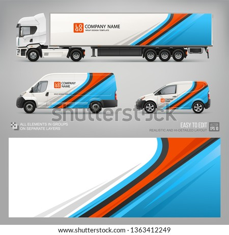 Wrap decal for Van, truck trailer livery branding design and corporate identity company. Abstract blue graphis Wrap, sticker and decal design for transport. Realistic Services Cars mockup