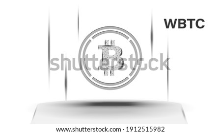 Wrapped Bitcoin WBTC token symbol of the DeFi system above the pedestal. Cryptocurrency logo icon. Decentralized finance programs. Vector illustration for website or banner. Stock photo ©