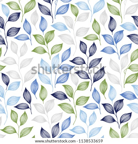 Wrapping tea leaves pattern seamless vector. Minimal tea plant bush leaves floral fabric ornament. Herbal sketchy seamless background pattern with nature elements. Colored summer foliage wallpaper.