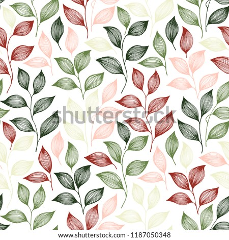 Wrapping tea leaves pattern seamless vector. Minimal tea plant bush leaves floral textile print. Herbal sketchy seamless background pattern with nature elements. Awesome summer foliage wallpaper.