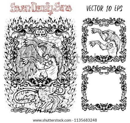 Wrath. Latin word Ira means Anger. Seven deadly sins concept, black and white vector set with frame. Hand drawn engraved illustration, tattoo and t-shirt design, religious symbol