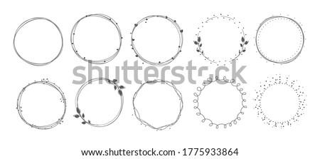 Wreath circle frame set on white background. Stockfoto ©