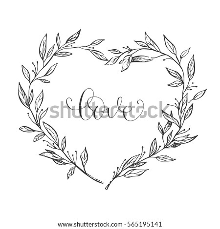 Stock Photo Wreath in the shape of a heart made of flowers. Card Valentine's Day. Lettering - love.