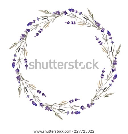 wreath  lavender  watercolor