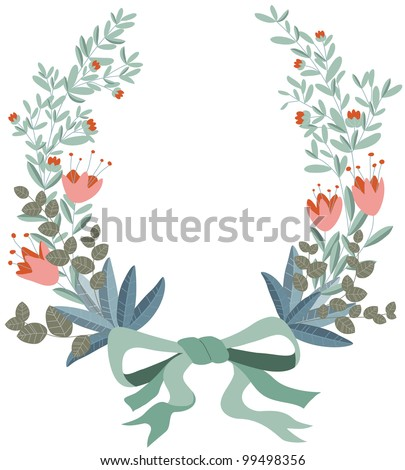Wreath of flowers and leaves. Retro style.
