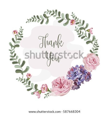 wreath of flowers in romantic with white background vector #587668304