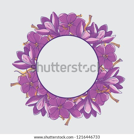 wreath of purple crocus flowers