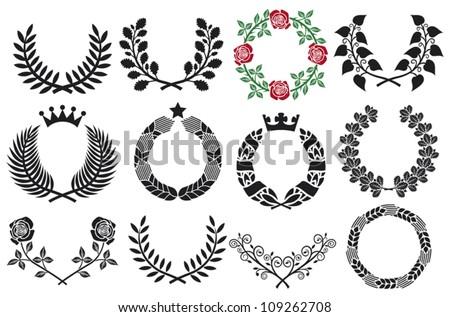 wreath set  roses  laurel ...