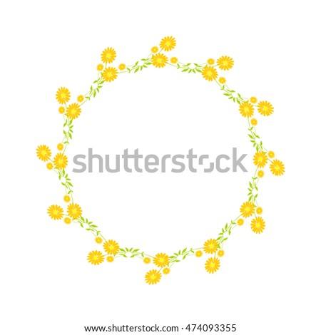 Wreath with flowers - Shutterstock ID 474093355