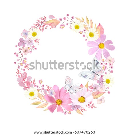 Wreath with flowers Cosmos, Chamomiles and butterflies. Vector romantic illustration in vintage watercolor style.