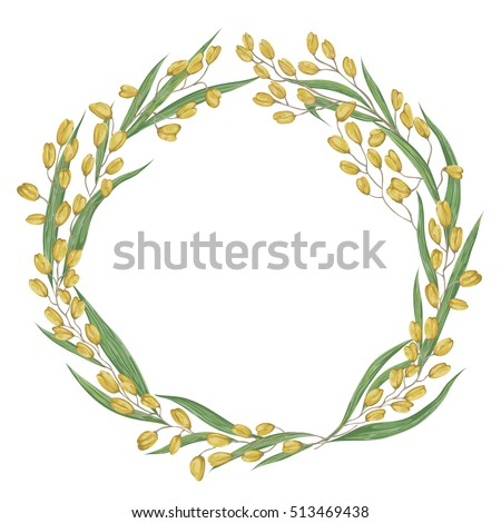 Wreath with rice. Collection grains, leaves and ears of rice on a white background. Isolated elements. Vintage hand drawn vector illustration in watercolor style.