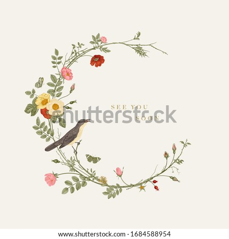 Wreath with wild roses and nightingale. See you soon. Vector floral illustration. Rococo