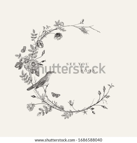 Wreath with wild roses and nightingale. See you soon. Vector floral illustration. Rococo. Black and white