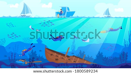 Wreck diving vector illustration. Cartoon flat scuba diver characters exploring sea depth with fishes, sunken ship, underwater shipwreck exploration by people looking for pirate treasures background