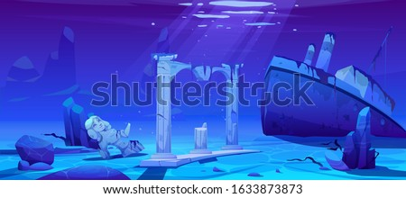 Wreck ship, sunken steamboat vessel with pipes on ocean sandy bottom near ancient old architecture columns and broken female statue, underwater world, pc game background. Cartoon vector illustration
