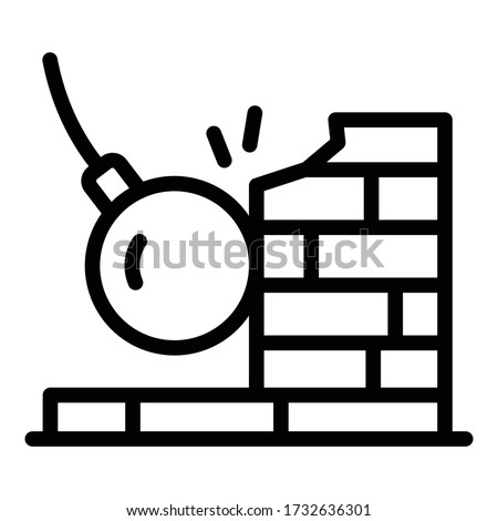 Wrecking ball on wall icon. Outline wrecking ball on wall vector icon for web design isolated on white background