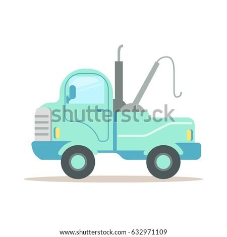 Wrecking car, service of evacuation colorful cartoon vector Illustration