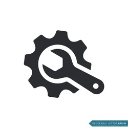 Wrench and Gear Cogwheel Icon Vector Flat Design