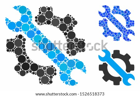 Wrench and gear setup tools mosaic for wrench and gear setup tools icon of filled circles in variable sizes and color hues. Vector filled circles are organized into blue mosaic.