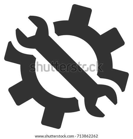 Wrench And Gear Tools vector icon. Style is flat graphic grey symbol.