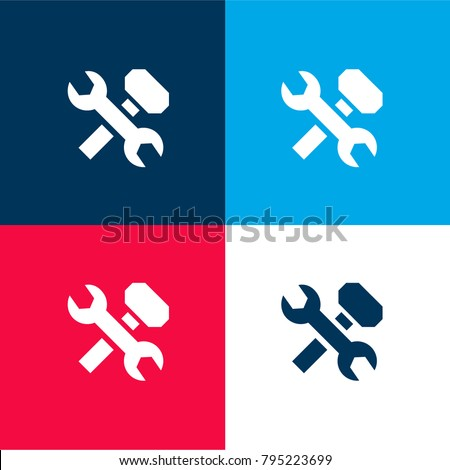 Wrench and hammer cross four color material and minimal icon logo set in red and blue