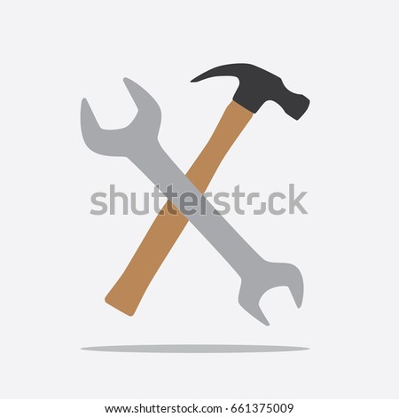 Wrench and hammer icon, vector illustration design. Tools collection.